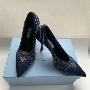 Prada Blue/Black Knit Logo Pumps